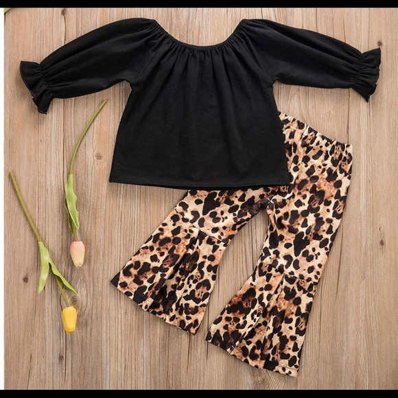 Ruffled top and Leopard Bell Bottom Pants 2 PC
